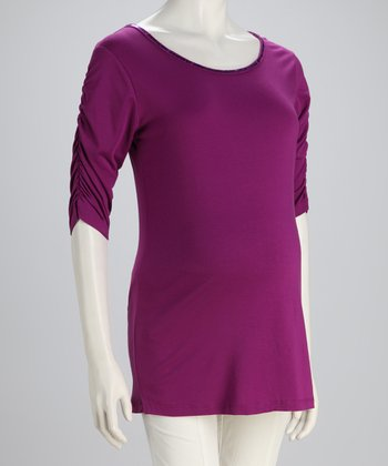 Purple Tie-Back Maternity Top