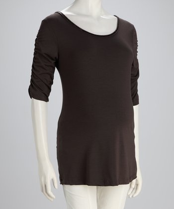 Brown Tie-Back Maternity Top