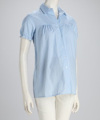 Blue Stripe Maternity Button-Up