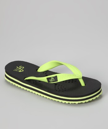Black & Lime Lacrosse Flip-Flop - Kids