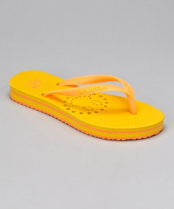 Yellow Smiley Flip-Flop - Kids