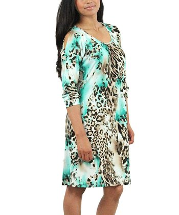 Aqua Leopard Cutout Dress