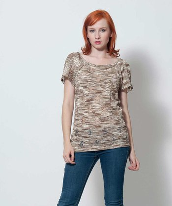 Khaki & Brown Scoop Neck Top