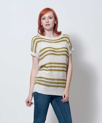 Olive & Beige Stripe Marge Top