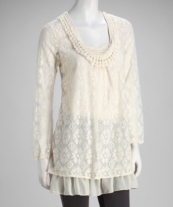 Beige Lace Tiered Top