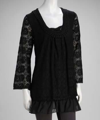 Black Lace Tiered Top