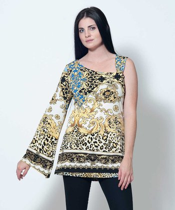 Royal Blue & Yellow Sophie Asymmetrical Tunic