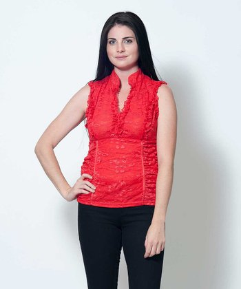Red Ruffle Cyd Sleeveless Top