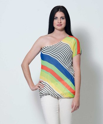 Royal Blue & Yellow Stripe Donna Asymmetrical Top