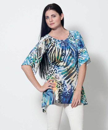 Purple & Turquoise Animal Print Evelyn Tunic