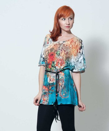 Orange & Turquoise Belted Gertrude Tunic