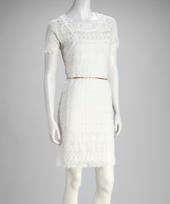 White Lace Belted Dress