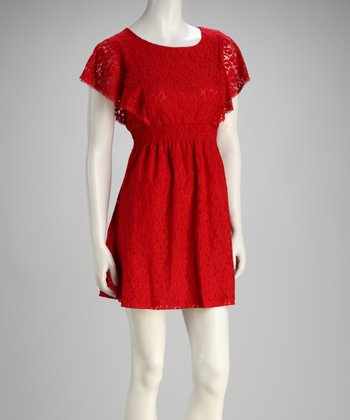 Red Lace Angel-Sleeve Dress