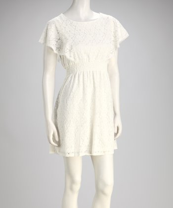 White Lace Angel-Sleeve Dress