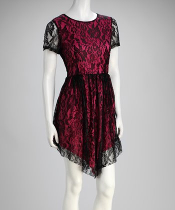 Fuchsia Lace Handkerchief Hem Dress