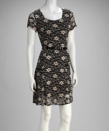 Black Floral Lace Belted Dress