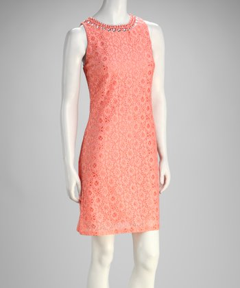 Salmon Lace Sleeveless Shift Dress