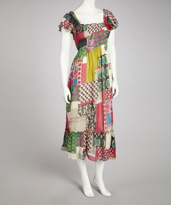 Fuchsia & Green Patchwork Shirred Square-Neck Dress