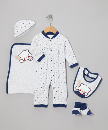Navy Baseball Layette Set