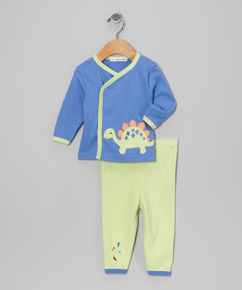 Blue Dinosaur Wrap Top & Pants