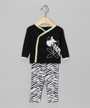 Black Zebra Wrap Top & Pants - Infant