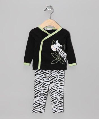 Rumble Tumble Black Zebra Wrap Top & Pants - Infant