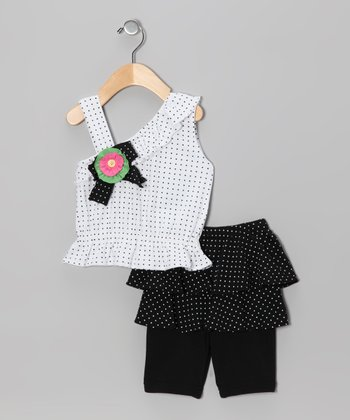 White Polka Dot Asymmetrical Tank & Skirted Leggings - Infant