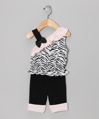 Black Zebra Asymmetrical Tank & Pants - Infant