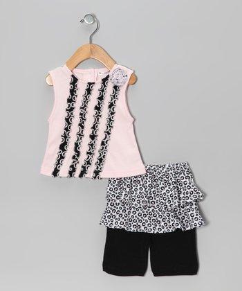 Rumble Tumble Pink Cheetah Ruffle Tank & Skirted Leggings - Infant