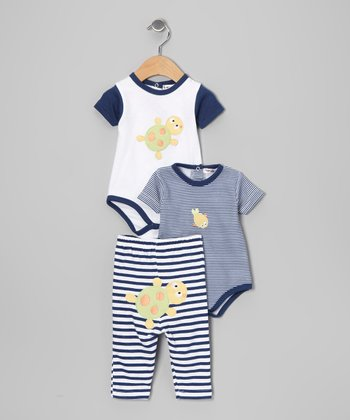 Blue Stripe Bodysuit Set - Infant