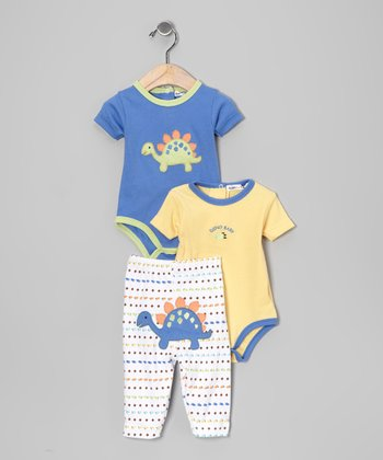 Yellow Dinosaur Bodysuit Set - Infant
