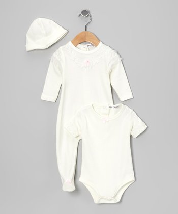 Cream Floral Footie Set - Infant