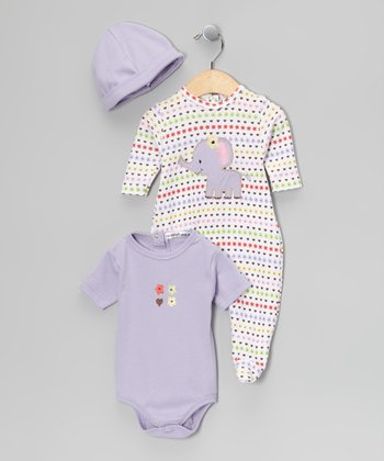 Rumble Tumble Purple Polka Dot Footie Set