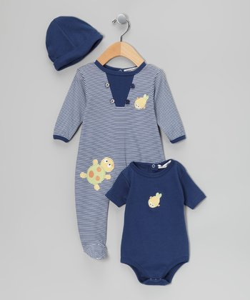 Blue Turtle Footie Set