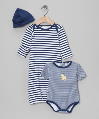 Navy Stripe Gown Set - Infant