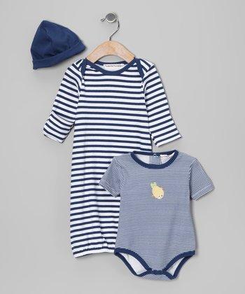 Rumble Tumble Navy Stripe Gown Set - Infant