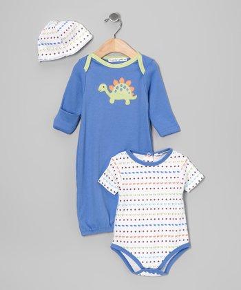 Rumble Tumble Blue Dinosaur Gown Set - Infant
