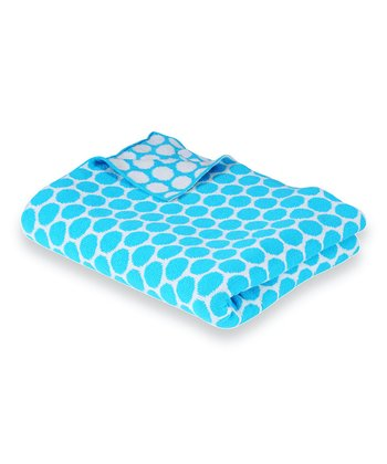 Turquoise & Natural Polka Dot Receiving Blanket