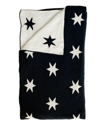 Navy & Natural Stars Receiving Blanket