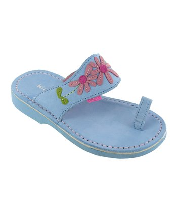 Light Blue Paulina Leather Sandal