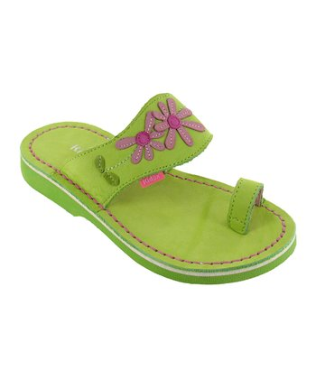 Lime Paulina Leather Sandal