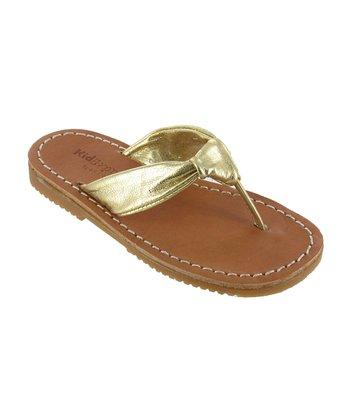 Gold Metallic Rochelle Leather Sandal