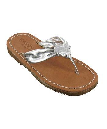 Silver Metallic Rochelle Leather Sandal