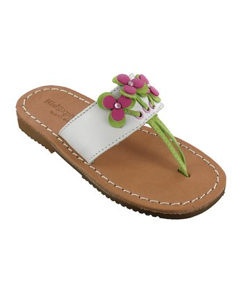 White Piper Leather Sandal