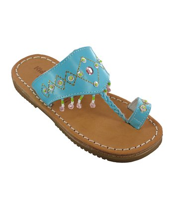 Turquoise Guadaloupe Leather Sandal