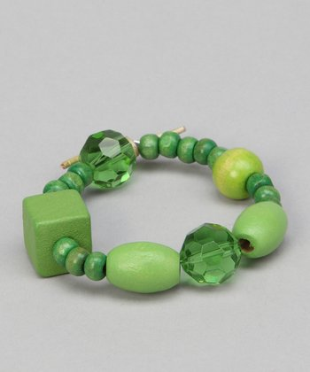Go Green Beaded Leather Bracelet