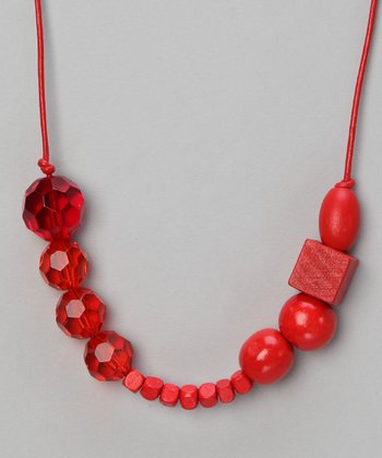 Red Saffron Beaded Leather Necklace
