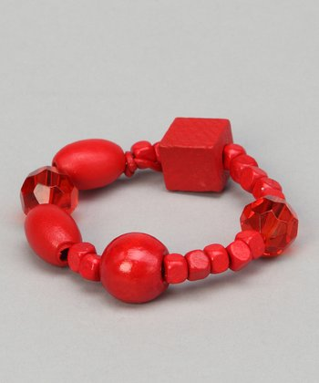 Red Saffron Beaded Leather Bracelet
