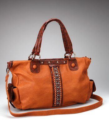Brown Braided Chain Satchel