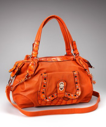 Orange Crocodile Satchel